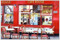 There are nearly 90 Café Rouges throughout the UK  This chain attempts to re-create the atmosphere of a small French cafe-bar, with French art on the walls and traditionally dressed waiters. How well it does this depends on your experiences of authentic Gallic bistros!   It's a place to meet people, or to sit down and enjoy a leisurely evening meal.