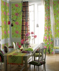 I adore this by Designers Guild, gorgeous pinks and that green! Love!