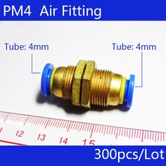 Free shipping 300Pcs 4mm Pneumatic Air Valve Push In Joint Quick Fittings Adapter PM4 #Affiliate