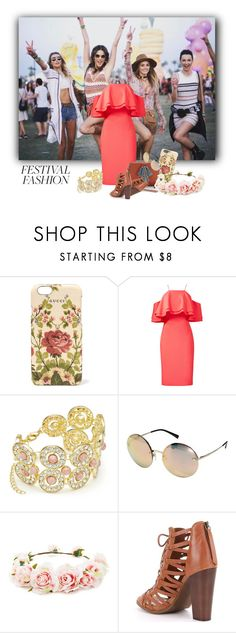 """festivalfashion"" by axenta ❤ liked on Polyvore featuring Gucci, Badgley Mischka, Slate & Willow, Versace, Forever 21, bag, festivalfashion and dres"