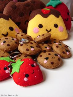 Kawaii cookies and strawberries, could make into shopkins!? maybe!?
