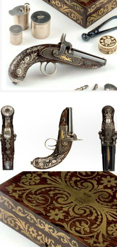 "A magnificent cased silver mounted double-barrelled percussion pocket pistol by W.F. Mills, London. Made for one of the children of H.R.H. ""THE PRINCE ADOLPHUS"" Duke of Cambridge, ca 1837-43. (PF #33 2007)"