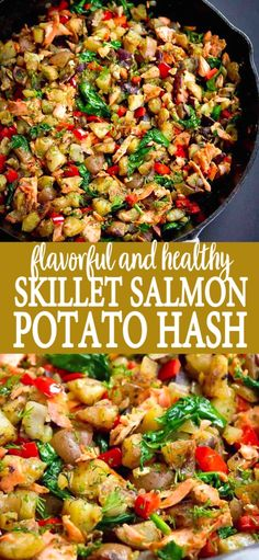 Serve up this flavorful and healthy Skillet Salmon Potato Hash with a green salad for brunch or a light dinner. 174 calories and 3 Weight Watchers SP Easy Brunch Recipes, Healthy Brunch, Lunch Recipes, Whole Food Recipes, Breakfast Recipes, Healthy Recipes, Top Recipes, Breakfast Dishes, Healthy Smoothies