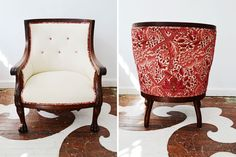 We reupholstered our client's antique armchair in Maxwell Fabric's Gig Harbour in Vanilla with contrast cording, buttons and the back panel upholstered in a William Morris textile.