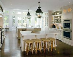 White kitchen and lanterns