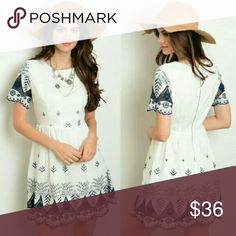 WHITE NAVY EMBROIDERED DRESS This dress is super adorable and chic for any occasion.  White dress with navy blue embroidery.  Lined. Back zipper. Also available in Navy blue with White embroidery.   BRAND NEW DRESS WITHOUT TAGS    ●••• Price firm, unless bundled •••●   Dresses