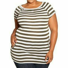 "2X Size Appeal from SWAK Striped Willa Top Striped ""Willa Top"" from SWAK a.k.a. Sealed With A Kiss Designs in a size 2X. Nautical inspired prep design features boat neck and pockets. White and olive/tan colored stripes. This runs small compared to most SWAK Items.  Would probably fit an 18W best. New without tags. SWAK Tops"
