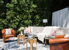 Create an inviting outdoor lounge with furniture you'd normally find indoors.