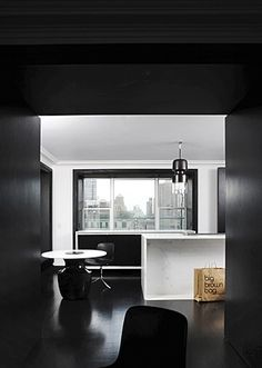 black and some white - dark walls - dark ceiling