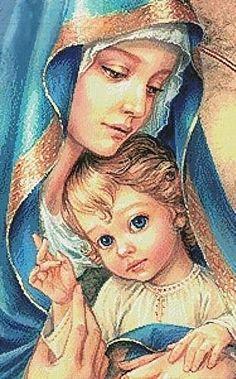 Оригинал схемы вышивки «мадонна с младенцем»