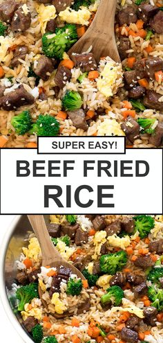 Loaded with flank steak, white rice, carrots, broccoli and eggs! So much better than takeout and ready in under 30 minutes! Beef Fried Rice, Steak And Rice, Fried Rice With Egg, Beef Recipes For Dinner, Cooking Recipes, Lunch Recipes, Summer Recipes, Veggie Side Dishes, Rice Dishes