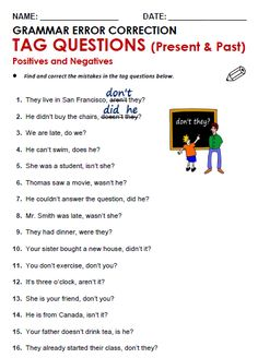 Tag question worksheet for grade 3 only for personal use. Teaching English Grammar, English Grammar Worksheets, English Vocabulary, Grammar Exercises, English Exercises, This Or That Questions, Improve English, Learn English, English Grammar