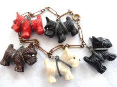 Vintage celluloid scottie dog bracelet highland terrier early plastic 1940's