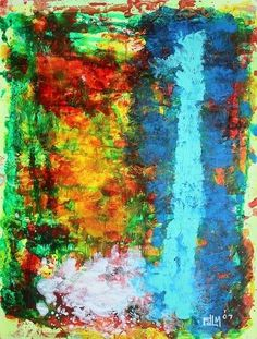 Cloud 9 - 2007 original abstract painting on paper acrylic colorful texture fdlm