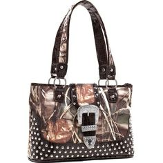 Real Tree (R) Camouflage Studded Tote Bag with Croco Trim and Buckle Accent - Coffee Q311-EM-RT1-51287A MAX4/LC