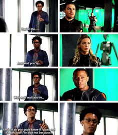 """""""You're the... And wait you're... Wait, wait, wait, you're..."""" - Curtis discovering the whole Team Arrow, Oliver, Laurel and John #Arrow"""