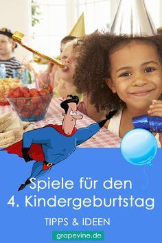 Die Geburtstagsfeier zum 4. Geburtstag ist häufig der erste richtige  Kindergeburtstag, bei dem die Kinder ihre Freunde aus dem Kindergarten  oder von wo anders einladen. Mini Me, 4th Birthday, Kids Playing, Children, Kindergarten, Baby, Vines, Party, Kids Birthday Games