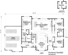 The Clemont, Plan 2222 - Rolling Oaks by Bielinski Homes, Inc. Price Point, Powder Room, Square Feet, Great Rooms, My House, Ranch, House Plans, Floor Plans, Flooring