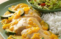 Ziploc® Brand Zip 'n Steam® Shanghai Chicken and Zucchini with Spicy Mandarin Ginger Glaze