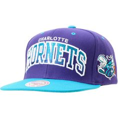 b7b2dcbe249 Show some love for the Hornets with the NBA Mitchell   Ness Hornets Purple  and Blue Arch Gradient snapback hat. Rep the popular NBA team in this  Hornet s ...