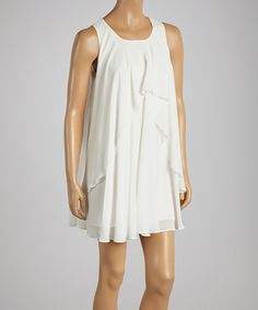 Love Tree White Swing Shift Dress by Love Tree #zulily #zulilyfinds   Cute with cowgirl boots!