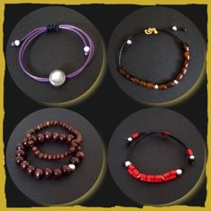 I use materials such as glass, wooden and metal beads. Black, silver or gold plated findings depending on the main colours of the design. Most water resistant materials for example chain, leather, wire and waxed cotton cord to name a few.