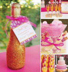 {Pink & Orange} Modern 40th Birthday