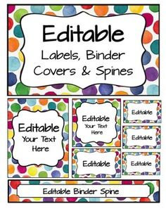 These editable pages match the Bright Watercolor Dots Word Wall.  Try FREE for a limited time.  Matching Word WallI use these to label my classroom bins, folders, organizers, and for student names in pocket charts (lunch, helpers, etc).  I print on full-sheet Avery labels, cardstock, and regular paper depending on my needs.