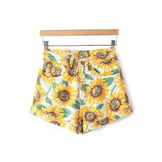 Sunflower Print Denim Shorts ($99) ❤ liked on Polyvore featuring shorts