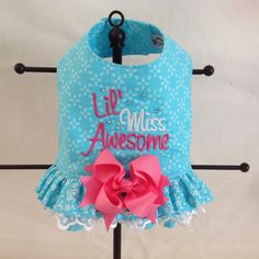 Lil' Miss Awesome Embroidered Double Ruffled DOG by princessamee