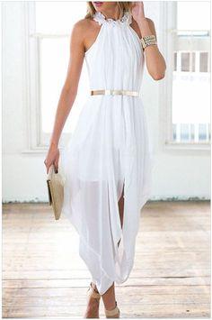 Elegance Chiffon Bubble Belt Dress LAVELIQ