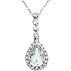 LORD & TAYLOR 14 Kt. White Gold Aqua & Diamond Pendant Necklace ($400) ❤ liked on Polyvore