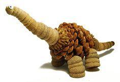 acorns and pinecones craft: dino