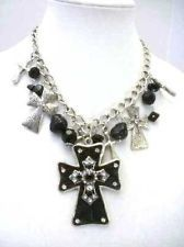 Statement Chunky Western Jewelry Cowgirl Bling Crosses Necklace Set  # 141