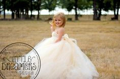 Ivory Champagne Flower Girl Dress with Detachable Train via Etsy