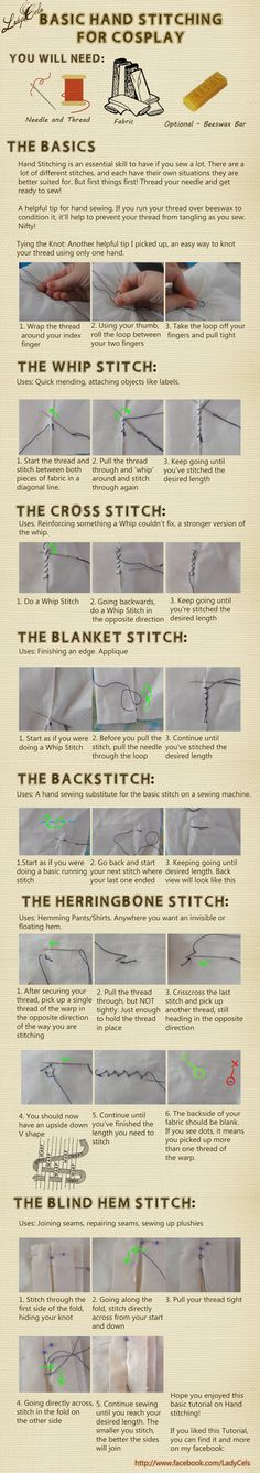 Hand stitching for Cosplay Tutorial by DragonLadyCels -- not much of a cosplayer myself, but good basic hand-sewing techniques for all occasions :) Sewing Hacks, Sewing Tutorials, Sewing Crafts, Sewing Projects, Sewing Patterns, Sewing Tips, Sewing Stitches, Couture Cuir, Diy Couture