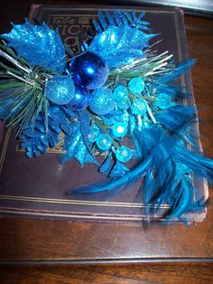 Vintage Christmas Decoration Floral Display Feather Blue Bulbs for Crafting and Design by kd15 on Etsy