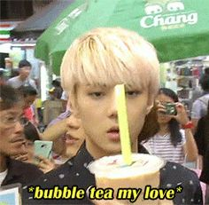 Sehun's love is none other than BUBBLE DRINKS ♡♡ #exo #sehun i shall make you as much Bubble Tea as you want