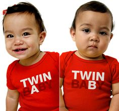 Image of TWIN BABY A/B Bodysuits in Red