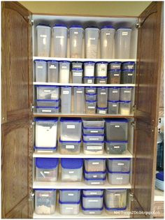 Amazing organized pantry!  That is the power of Tupperware Modular Mates!  My pantry looks very much like this, only bigger. I set it up almost 15 years ago and have gotten more as our family grew over the years and we moved to more bulk buying and freezing cooking. My pantry is the only place in my whole house that it *always* organized. Love them. 100% worth the investment.