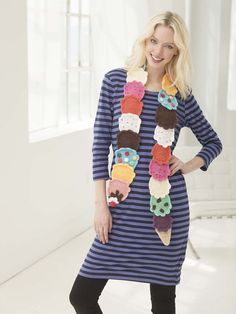 Lion Brand® Vanna's Choice® Baby Ice Cream Scarf #pattern #crochet