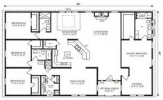 Love this floor plan. Probably flip master so bathroom at front ranch house floor plans 4 bedroom Love this simple, no watered space plan - add a wraparound porch, garage with additional storage room and it would be perfect! by proteamundi Floor Plan 4 Bedroom, 4 Bedroom House Plans, Basement House Plans, Barn House Plans, Ranch House Plans, Dream House Plans, House Floor Plans, Pole Barn Homes Plans, Barn Plans