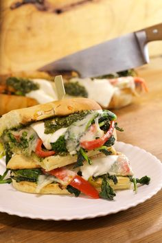 A surefire way to get your daily vegetable intake is to make this broccoli rabe Italian hoagie roll with a herb-walnut pesto.