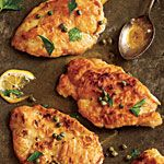 Meyer Lemon Chicken Piccata Recipe | MyRecipes.com  I used 1/2 cup of wine, 1/2 cup of lemon juice and about 1/4 cup extra of chicken stock to the reduction.  I also added minced garlic, mushrooms and extra butter, along with about 1 tablespoon of sugar to the reduction to lessen the acidity and tartness of the dish.  it was absolutely fabulous!