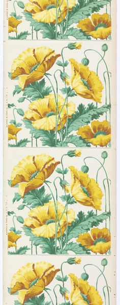 "Machine Printed Frieze by MH Birge & Sons, 1900–15 | Collection of Smithsonian Cooper-Hewitt, National Design Museum, 2005-27-10. 21'3""x22-1/16"". Art nouveau-style design. Large-scale yellow poppies on green stems printed on white ground. Design repeats vertically and would need to be cut apart to work as frieze."