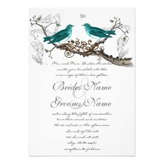 Teal Vintage Birds Wedding Invite