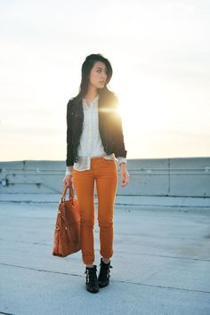 b963bc25dad3a Pumpkin pants are surprisingly wicked. Orange Skinny Jeans