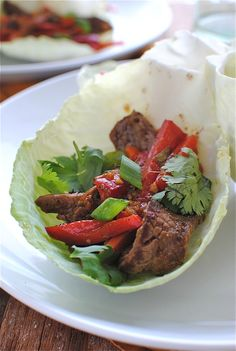 Beef Stir-Fry Cabbage Cups: Asian-style sauteed beef and veggies in a crisp cabbage cup.