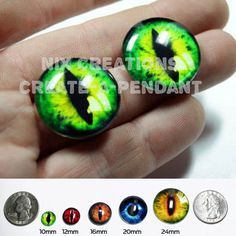 Glass Eyes - 24mm - 1 inch Green Dragon Glass Eyes Glass Taxidermy Doll Eyes Cabochons for Steampunk Jewelry and Pendant Making $9.00