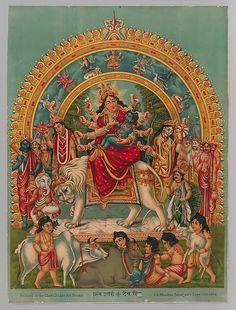 Hindu Cosmos - Devi Durga and her Family with Little Krishna in. Baby Krishna, Little Krishna, Krishna Art, Durga Maa, Shiva Shakti, Durga Goddess, Shiva Hindu, Om Namah Shivaya, Maa Image